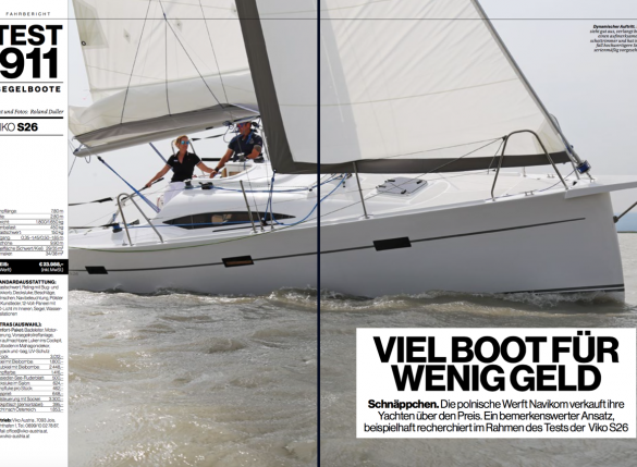 Viko S 26 sailing test in Die Yachtrevue magazine